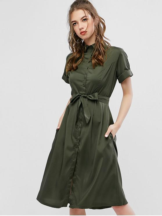 best Buttoned Cuffed Sleeves Belted Flare Dress - GREEN XL