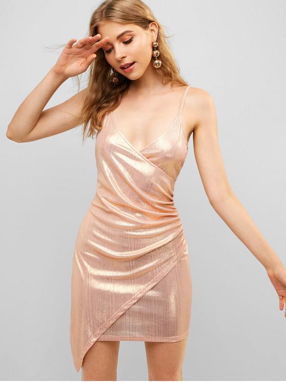 chic ZAFUL Overlap Shiny Draped Cami Dress - ROSE GOLD M