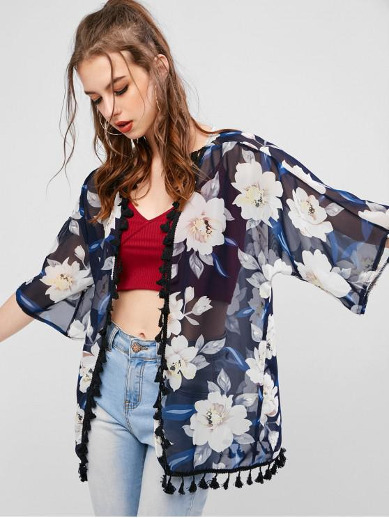 shops Flower Print Tassel Chiffon See Thru Kimono Cardigan - DARK SLATE BLUE L