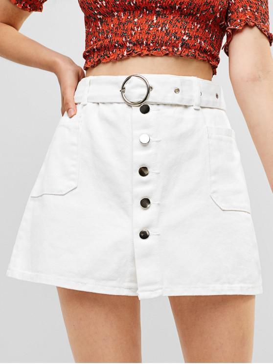 shop Belted Button Fly Pocket Denim Skirt - WHITE S