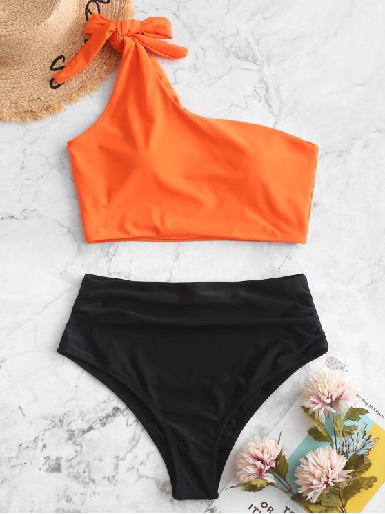 women ZAFUL Ruched Knot One Shoulder Tankini Swimsuit - MANGO ORANGE L