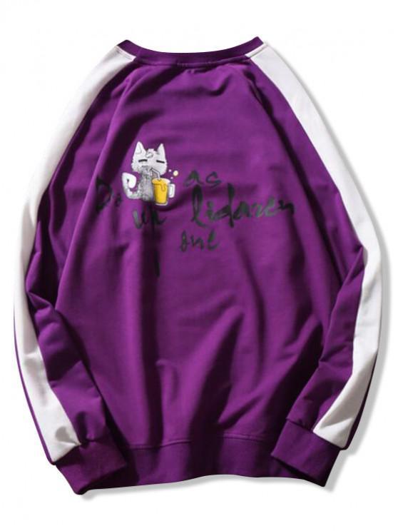 chic Injured Cat Letter Print Color Block Panel Raglan Sleeve Sweatshirt - PURPLE XL