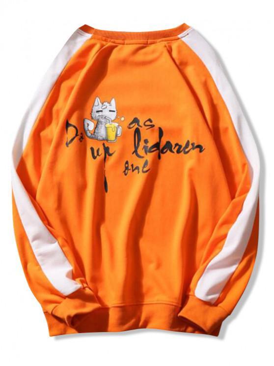 Sudadera con capucha de gato con estampado de letras y bloques de color, manga de raglán - Naranja M