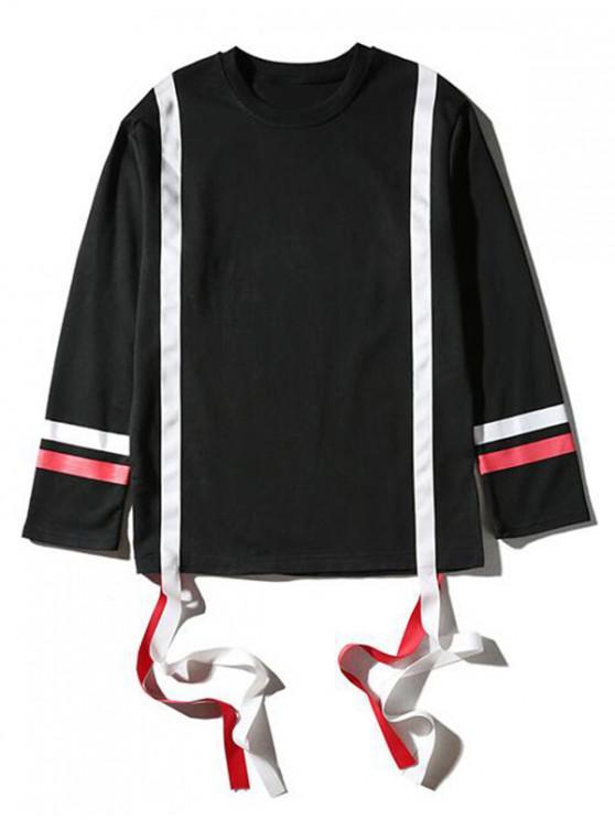 best Color Block Ribbon Stripes Pullover Casual Sweatshirt - BLACK M