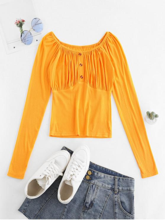 shop ZAFUL Ribbed Button Embellished Raglan Sleeve T-shirt - SAFFRON S