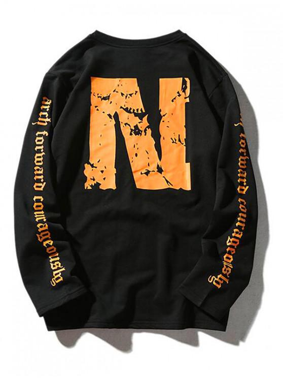 outfit Neophyte Letter Graphic Print Pullover Casual Sweatshirt - BLACK XS