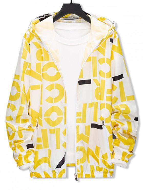 Chaqueta con capucha a prueba de sol ligera con estampado gráfico y carta - Amarillo L