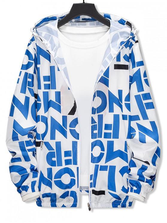 Chaqueta con capucha a prueba de sol ligera con estampado gráfico y carta - Azul XS