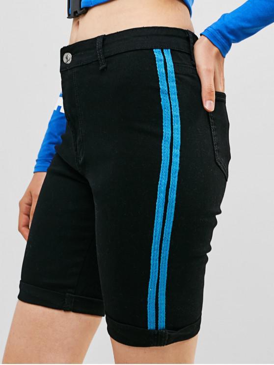 buy Roll Hem Striped Panel Pocket Jean Shorts - BLACK S