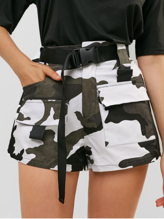 online Buckled Belted Camouflage Shorts - MULTI-A S