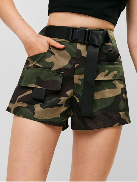 shop Buckled Belted Camouflage Shorts - MULTI-B L
