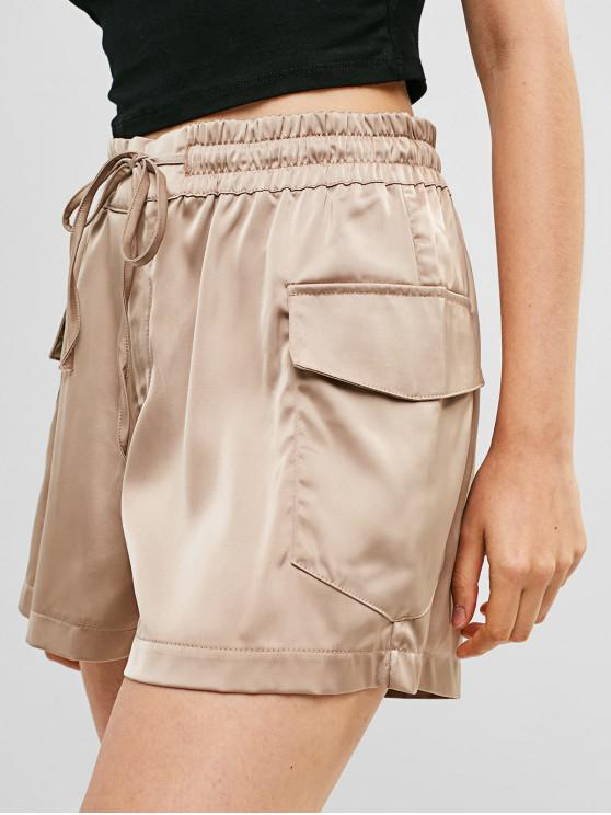 fashion High Waist Pockets Solid Wide Leg Shorts - CAMEL BROWN L
