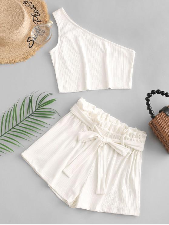 lady ZAFUL Ribbed One Shoulder Paperbag Shorts Set - WHITE S