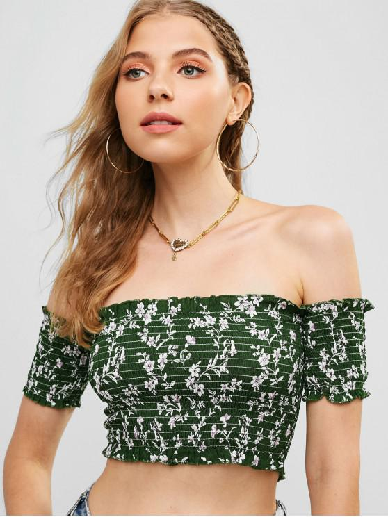 outfit Cropped Floral Smocked Off Shoulder Blouse - GREEN L