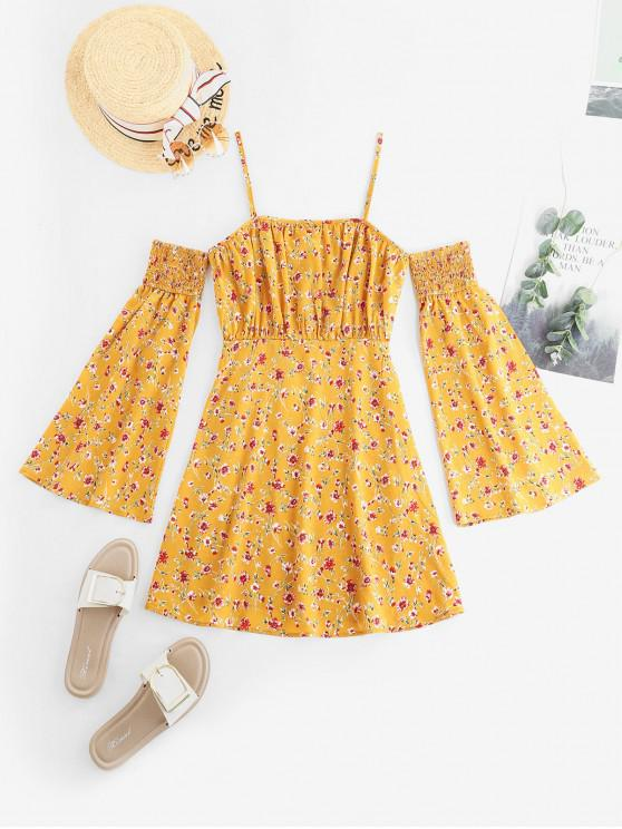 women's ZAFUL Ditsy Floral Cold Shoulder Flare Sleeve Smocked Dress - GOLDEN BROWN L
