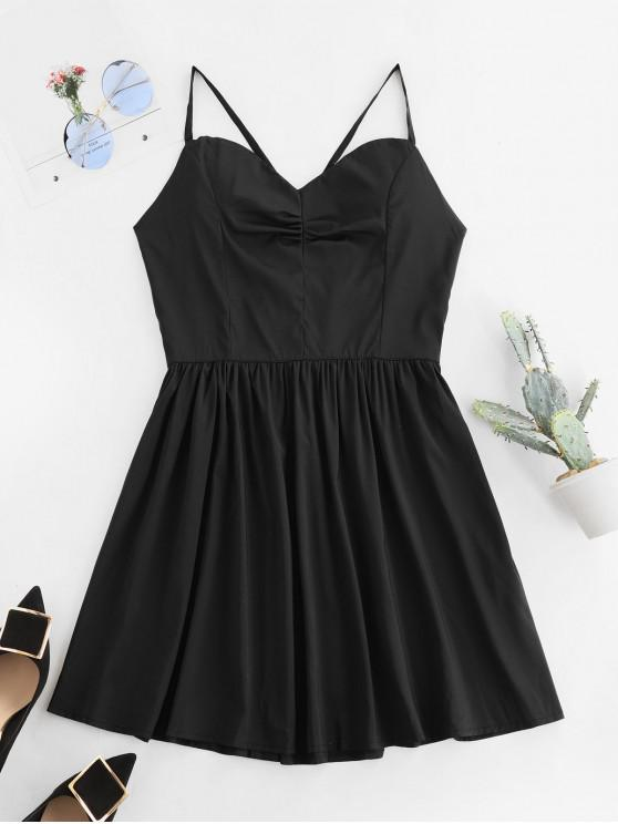 best Open Back Padded Lace Up Cami Dress - BLACK M