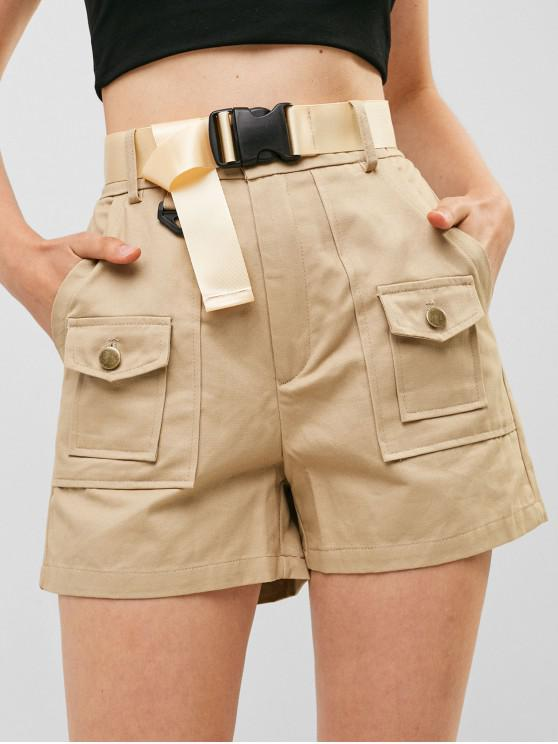 fashion Pockets Belted Solid Shorts - LIGHT KHAKI L
