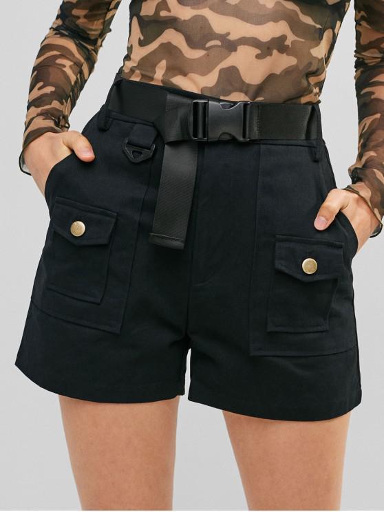shops Pockets Belted Solid Shorts - BLACK M