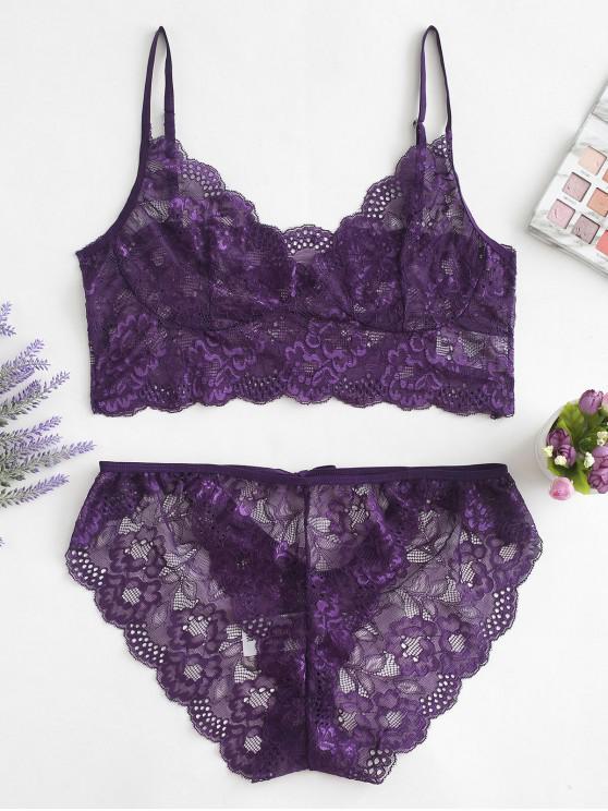 Krawatte Blumenspitze Dessous Set - Lila Iris M