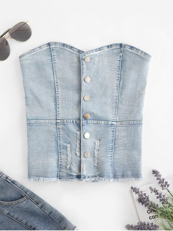buy Denim Ripped Button Up Corset Tube Top - DENIM BLUE XL