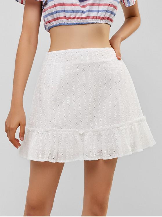 Falda con volantes y ojales - Blanco L
