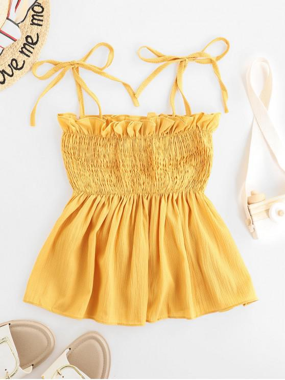 women's Ties Smocked Skirted Cami Top - YELLOW ONE SIZE