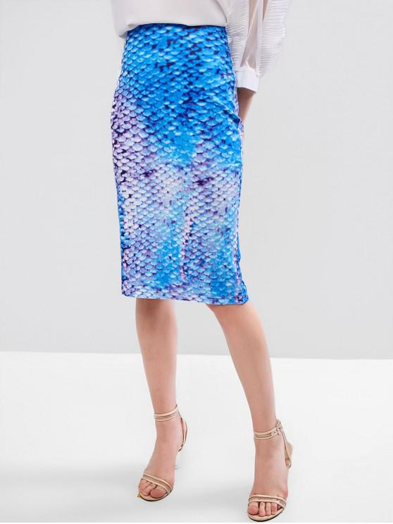 women Slit Mermaid Scales Print Pencil Skirt - MULTI-A L