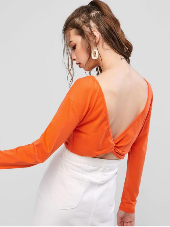 women's ZAFUL Twisted V-shaped Back Crop Tee - ORANGE M