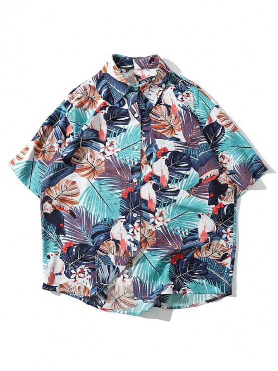 latest Tropical Plant Parrot Short Sleeve Hawaii Beach Shirt - BABY BLUE L