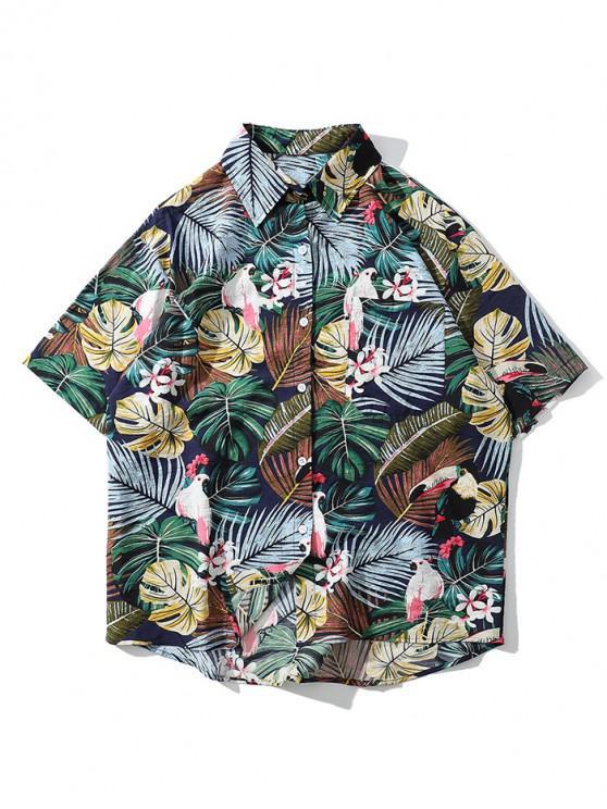 hot Tropical Plant Parrot Short Sleeve Hawaii Beach Shirt - FERN GREEN XL