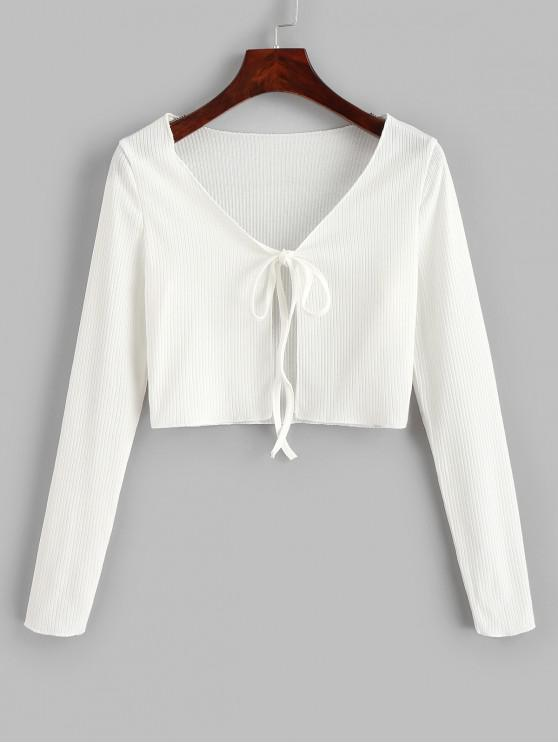 womens Ribbed Tie Front Cropped Tee - WHITE M