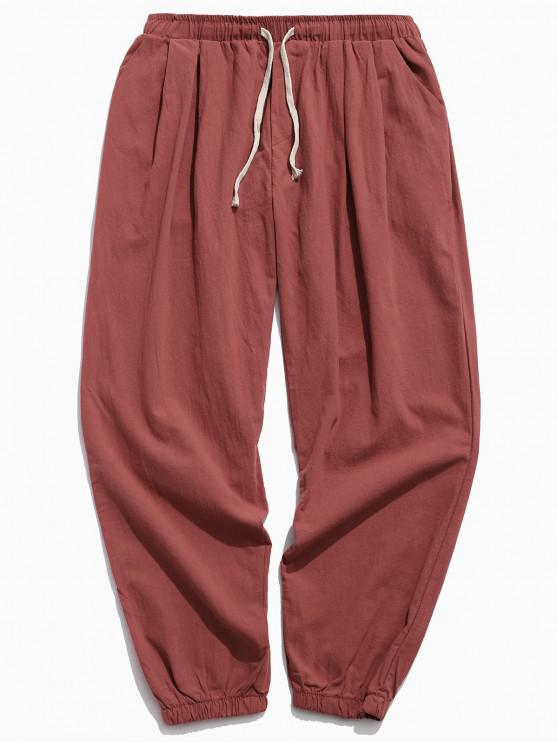chic Solid Color Sport Casual Jogger Pants - RED XS
