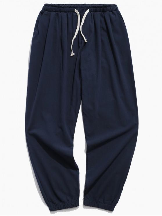 fancy Solid Color Sport Casual Jogger Pants - CADETBLUE XS
