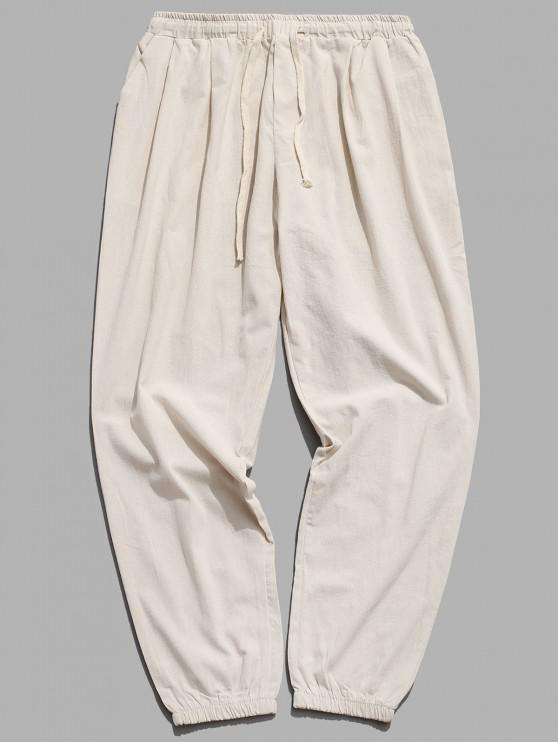 womens Solid Color Sport Casual Jogger Pants - BEIGE S