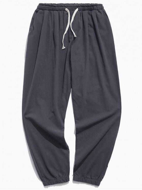 online Solid Color Sport Casual Jogger Pants - GRAY S