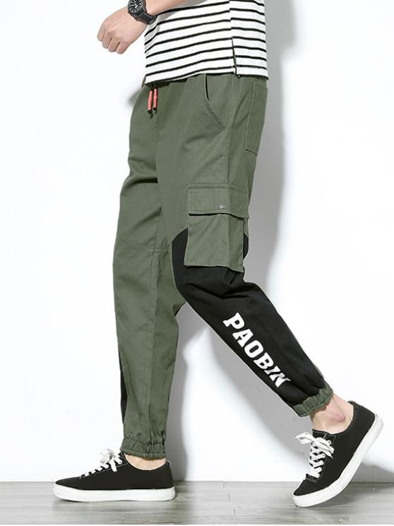 lady Letter Graphic Print Color Block Panel Jogger Pants - ARMY GREEN XS