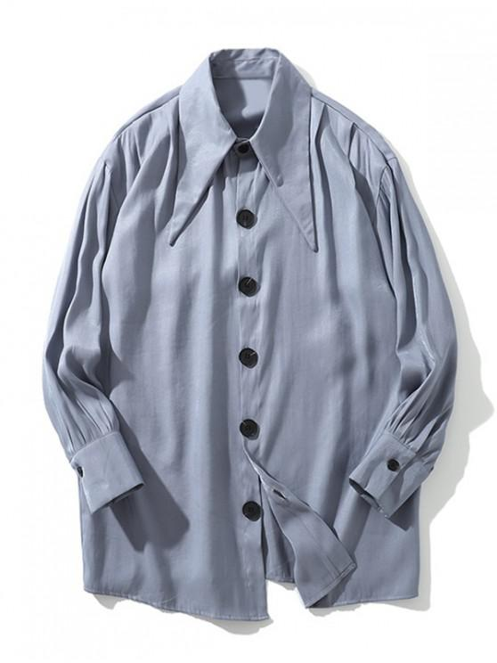 women Solid Color Single-breasted Button Casual Shirt - BLUE GRAY 2XL