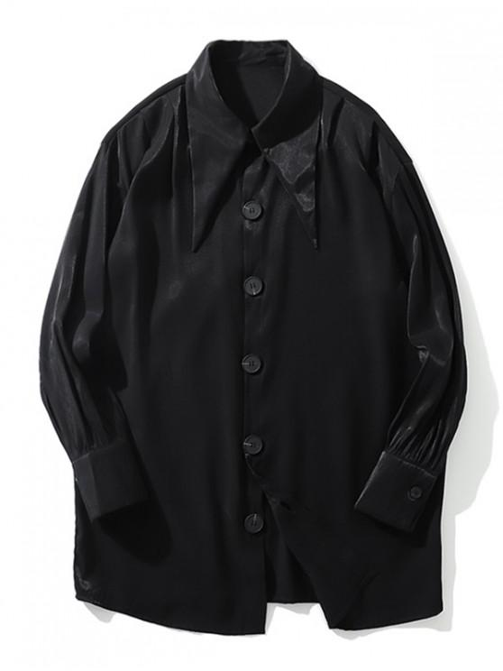 best Solid Color Single-breasted Button Casual Shirt - BLACK L