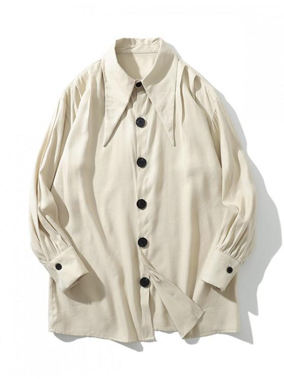fancy Solid Color Single-breasted Button Casual Shirt - WARM WHITE XL