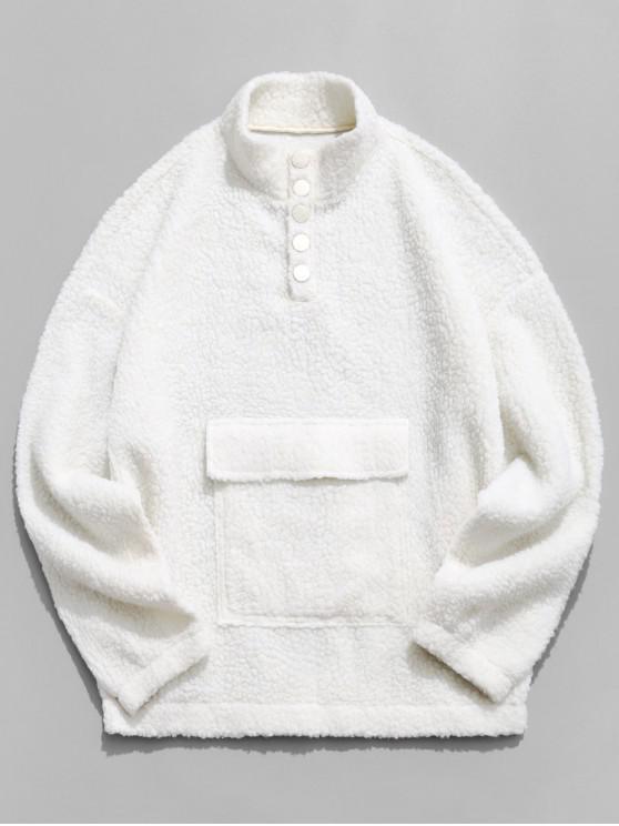 lady ZAFUL Front Pocket Snap Button Fluffy Sweatshirt - BEIGE L