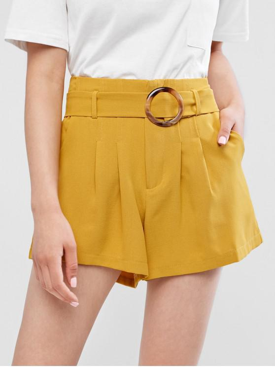 affordable Pleated Belted Solid Wide Leg Shorts - YELLOW L