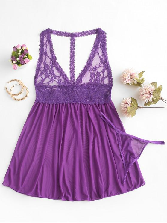 trendy Lace Insert Open Back See Through Babydoll - PURPLE FLOWER S