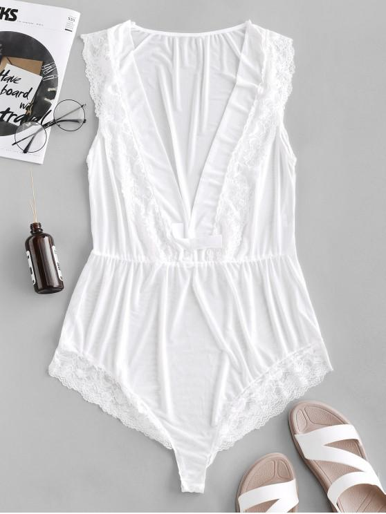 trendy Lace Insert Plunging Neck Bow Sheer Teddy - WHITE S