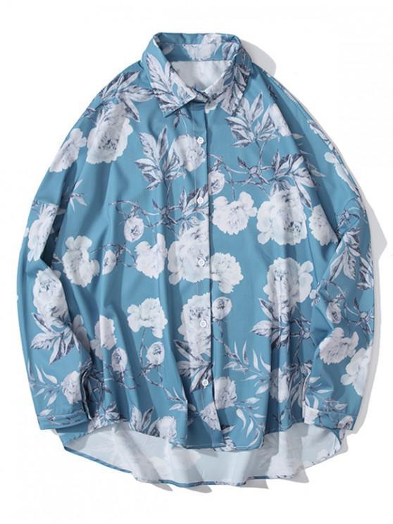 ladies Flower Leaf Print High Low Drop Shoulder Button Shirt - LIGHT BLUE 2XL