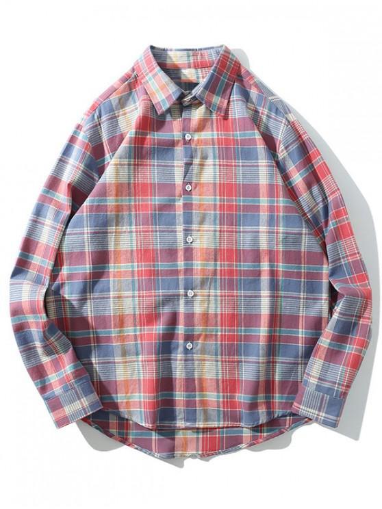 ladies Long Sleeve Plaid Print Button High Low Shirt - BEAN RED XL