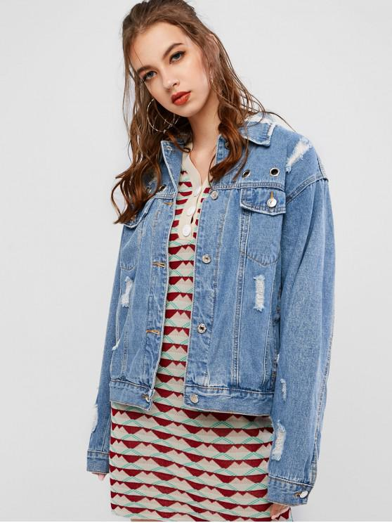 lady Ripped Grommet Button Up Pocket Jeans Jacket - DENIM DARK BLUE L