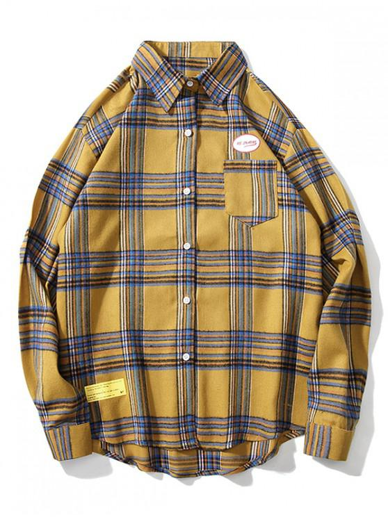 outfit Letter Graphic Plaid Print Chest Pocket Button Shirt - YELLOW M