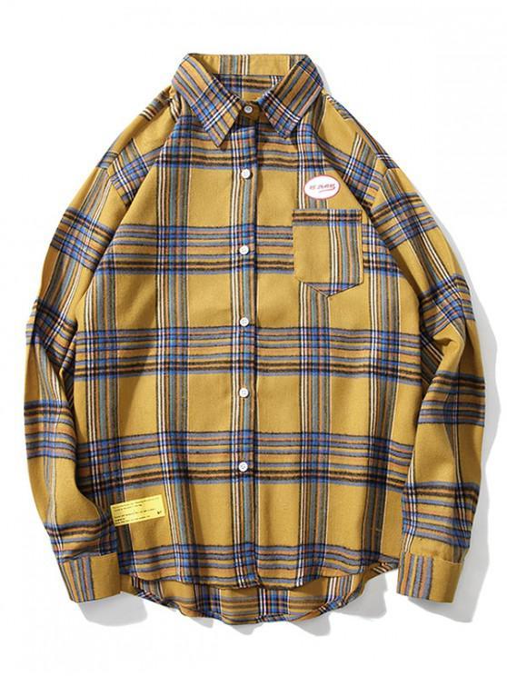shop Letter Graphic Plaid Print Chest Pocket Button Shirt - YELLOW L