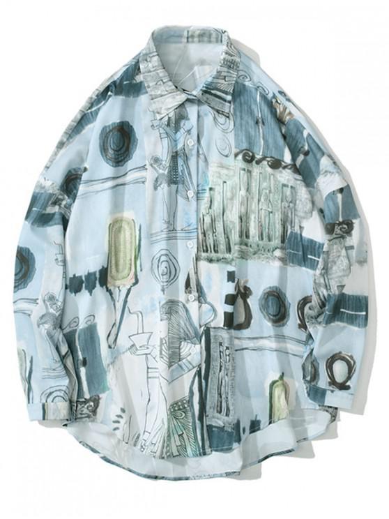 sale Tribal Character Culture Print Drop Shoulder Shirt - BABY BLUE L