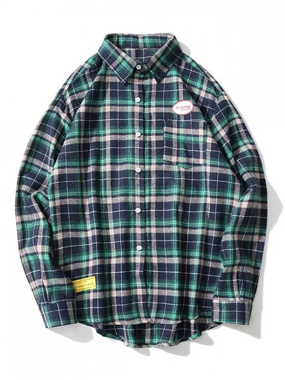 outfit Letter Graphic Plaid Print Chest Pocket Button Shirt - BLUE L